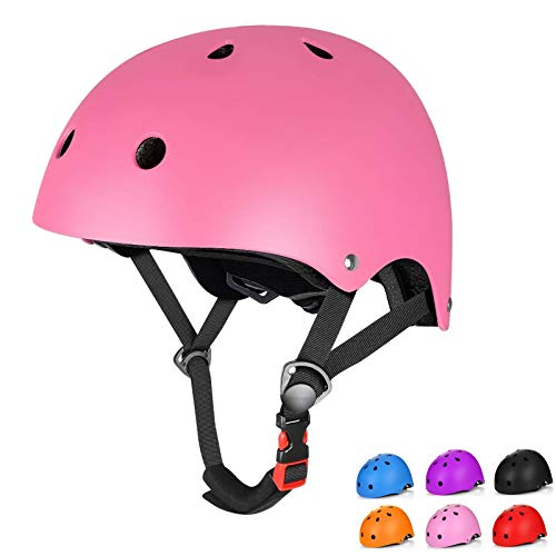 Kids Bike Helmet Toddler Helmet Multi-Sport Cycling Helmet CPSC Certified Adjustable Youth Skateboard Helmet Ages 3-14 Years Old Bolys Girls (Pink, Small)