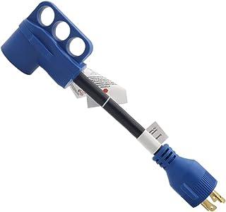 VICASKY 30 Amp para Dogbone 50 Amp RV Adaptador Com Conector de Bloqueio Feminino Conversor Elétrico Com LED Azul Indicado...
