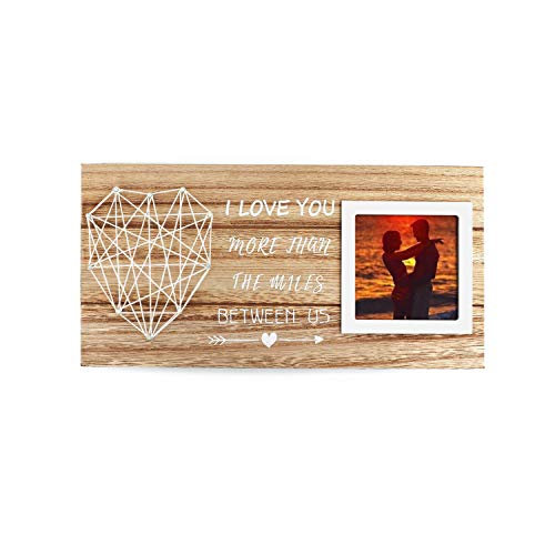 SHYi Love Gift For Long-Distance Relationship Couple AnniversaryCute Picture Frame And Traditional Wood Wdding Gift-I Love You More Than The Miles Between Us For Him And Her Valentine Gift- Wooden Sign for 3x3 Photo