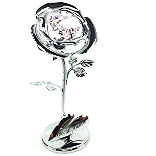 ukgiftstoreonline Auntie Gift - Crystocraft Celebration Rose - Special Auntie