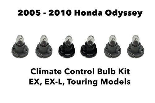 Genuine OEM Honda Odyssey (Set of 6 Bulbs) Heater A/C Climate Control Light Bulb Kit (EX, EX-L, Touring) 2005-2010