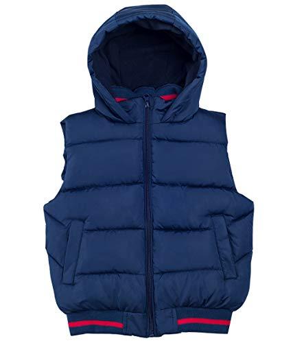 Happy Cherry Kinder Jungen Mädchen Steppweste Gilet Herbst Winter Warme Ärmellose Jacke Outwear, Dunkelblau(mit Kapuze), 130(Empfohlene Höhe 120-130cm)