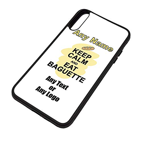 UNIGIFT Gepersonaliseerd geschenk - Houd kalm eten Baguette iPhone Xs Max Case (Voedselontwerp) Elke Naam Bericht Unieke Apple TPU Cover - Draag Poster Party Dieet Snack Cake Fruit Cream Veg Pizza Chips Brood