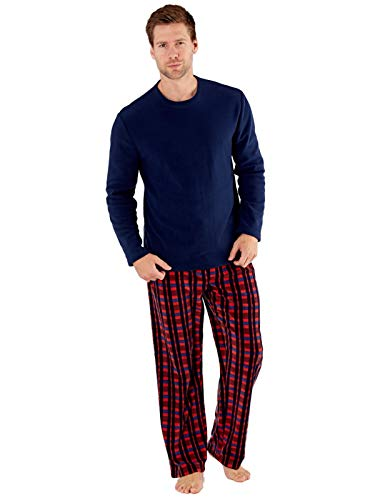 SaneShoppe Herren Thermal Top, Polar Fleece Hose Pyjama Sets Burgund-L