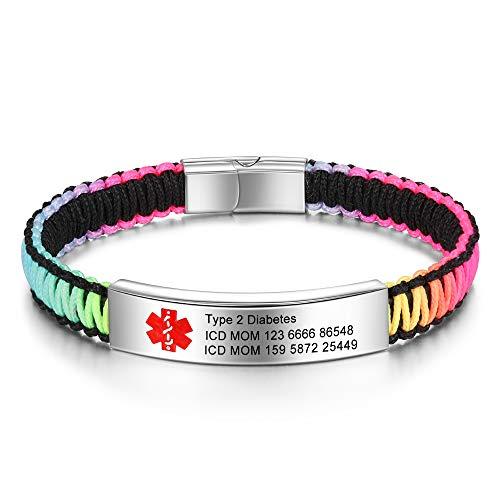 lorajewel Personalisierte Medizinische Alert ID Armbänder Edelstahl Silikon Notfallarmband Verstellbar Emergency SOS Armband für Herren Damen, Free Gravur (Multicolor)