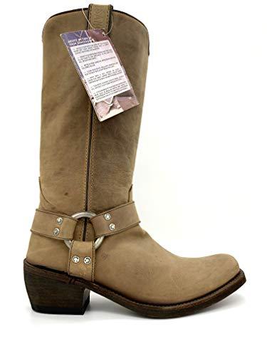 Sancho Damen-Stiefel Westernstiefel Cowboystiefel Biker-Boot (41, Braun)
