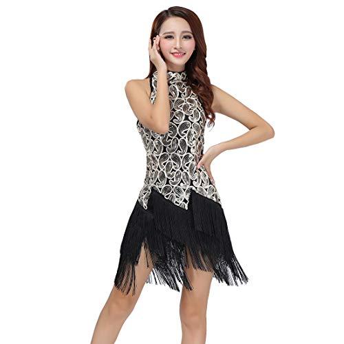 Cool&D Pailletten Tanzkleid Abendkleid Latin Kleid Tiered Quaste Flapper Kleid