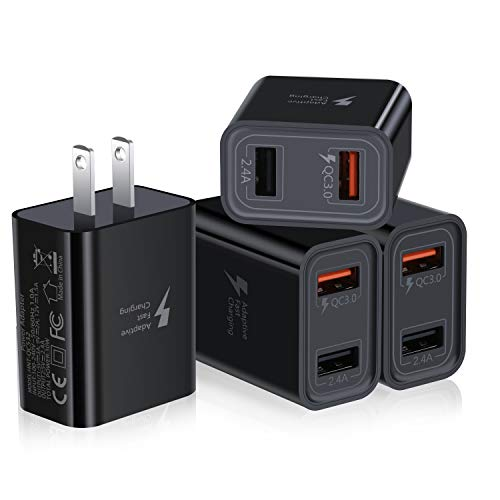 Quick Charge 3.0 USB Charger, Pofesun 4Pack 30W QC 3.0 USB Wall Charger Adapter Adaptive Fast Charging Block Compatible Samsung Galaxy S10 S9 S8 Plus S7 S6 Note 8 9 10,iPhone,LG,Wireless Charger-Black