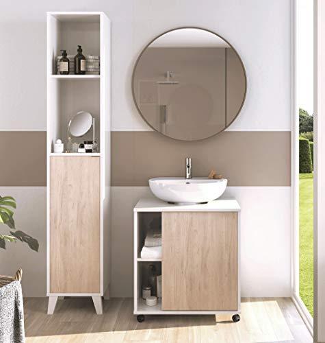 Miroytengo Conjunto mobiliario baño Moderno Saina para Lavabo Pedestal pie Mueble Columna Blanco y Roble sin Espejo