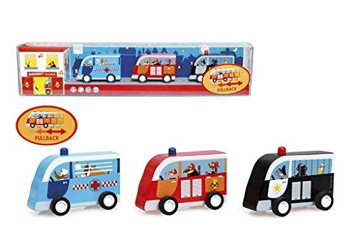 Scratch Preschool: Set de 3 Voitures à RÉTROFRICTION - Les Services d'urgence 9x4.5x6cm, en Bois, en Tube PVC, 3+