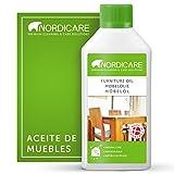 Nordicare Aceite para muebles [500ml] Aceite incoloro para madera para el cuidado de roble, haya, nogal, pino. Esmalte para madera a base de aceite de linaza. Barniz de aceite de linaza