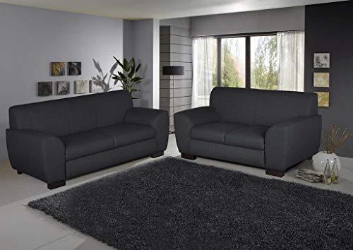 Froschkönig24 TRIENT Set 2-Sitzer 3-Sitzer Polstergarnitur Sofagarnitur Couch Sofa Anthrazit, Füße:Echtholz Wenge