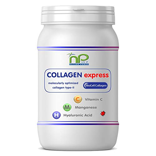 Collagen Express or Biocell Collagen Capsules (with Collagen-II, hyaluronic Acid, Vitamin-C and Manganese) 1000mg Collagen/Day for Skin, Hair, Joints by NP-Vital (60 Collagen Express Capsules)