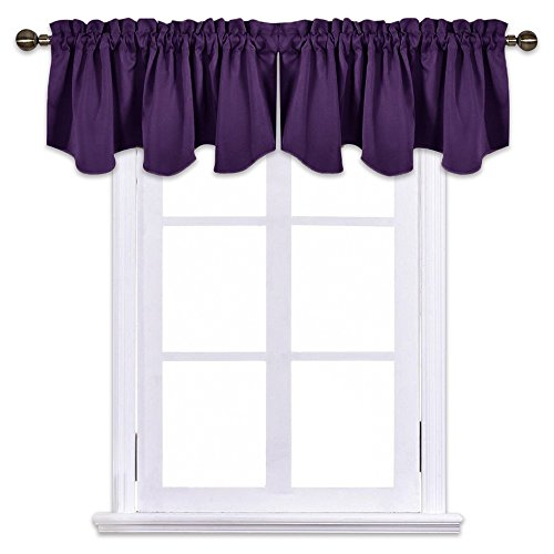 NICETOWN Blackout Window Draperies Curtains - 52-inch by 18-inch Scalloped Pole Pocket Valance Kitchen/Living Room/Bedroom Window Toppers Curtains, Royal Purple One Pair