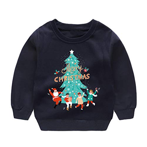 Fineday Blouse for Baby Girls Boys, Toddler Baby Kids Boys Girls Christmas Tree Sweatshirt Pullover Tops T-Shirt, Boys Tops (Navy 5-6 Years)