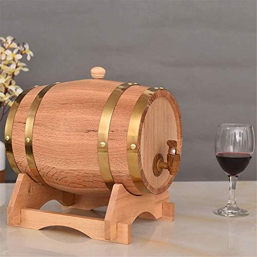 Barril de Madera, 5L roble barril barril de madera para servir, con soporte de madera, visualización de acento de mesa de mesa, almacenamiento de espíritus, licores de vino, cerveza, sidra, whisky