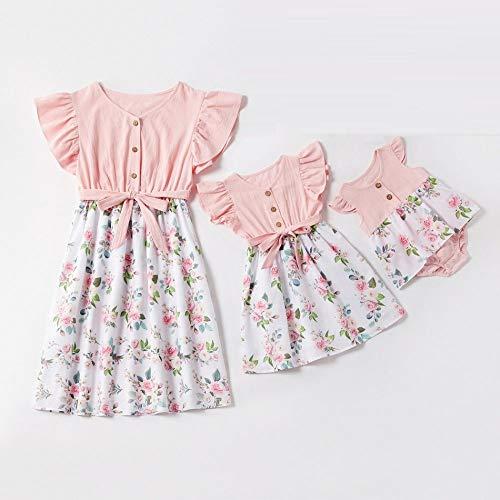 RIQWOUQT Mor dotter badkläder rosa skarvning hög midja knapp smal ärmlös blommig klänning, rund hals familj förälder-barnkläder mamma och dotter maxiklänning, sommarsemester fest avslappnad strand sk