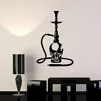 Calcomanía de vinilo Pegatinas de Pared de la Ventana de la Cachimba Shisha Calavera Árabe Bar de Fumadores Logotipo de Pegatinas de Pared Arte Mural Home Living Room Decor 85X57 cm