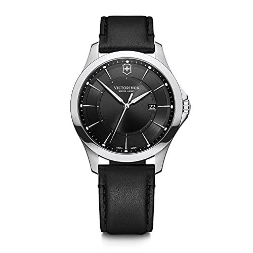 Victorinox Alliance Ø 40, esfera negra, caja de acero inoxidable de plata, correa de cuero negro para hombres 241904