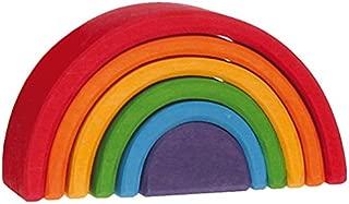 Grimm's Small (Mini) 6-Piece Rainbow Nesting Wooden Blocks Stacker,