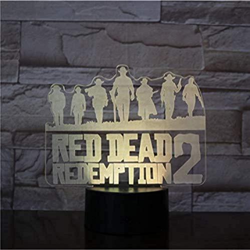 3D Nachtlampje, Spel Red Dead Redemption Nachtlampje Gift Woondecoratie Accessoires LED Licht Lamp Slaapkamer Decor