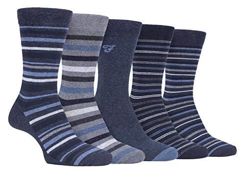 Farah - 5er Pack Herren Bunt Punkte/Uni/Gestreift/Kariert Muster Business Socken (39/45, CS191DENTEL (Striped))