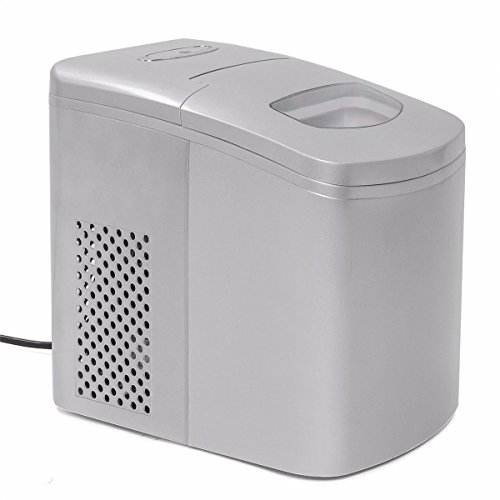 9TRADING Electric Ice Maker Machine Portable Counter Drink all day Ice Maker Silver