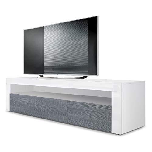 Vladon TV Board Lowboard Valencia, Korpus in Weiß matt/Front in Avola-Anthrazit mit Rahmen in Weiß Hochglanz