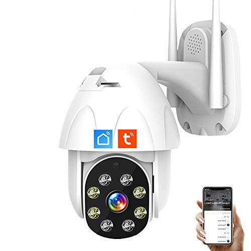 IOSICAM 1080P Cámara domo de vigilancia exterior PTZ WiFi APP Tuya Smart Life, cámara IP de seguridad en el hogar, audio de 2 voces, visión nocturna, detección de movimiento, impermeable IP66