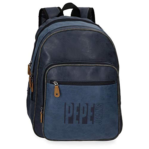 Pepe Jeans Max Sac à dos double compartiment adaptable au chariot pour ordinateur portable Bleu 31x44x15 cms Cuir synthétique 15,6' 20.46L