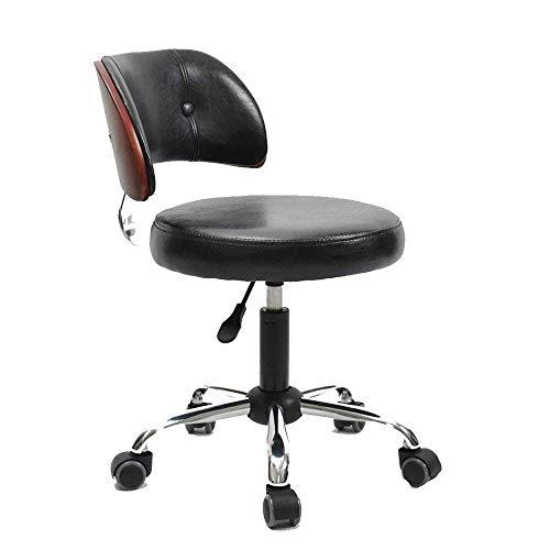 N/Z Daily Equipment Chairs Simple Office Computer Swivel Stool Protective Waist Armchair 360 deg; Rotation and Lifting (Multi Color Optional) S (Color : Black)