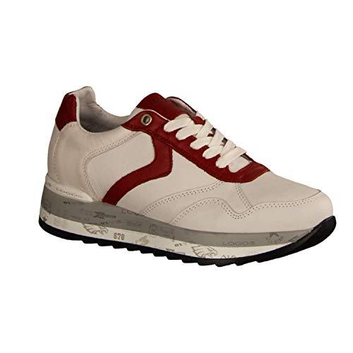 Maca Kitzbühel 2457 White/Red (weiß) - Schnürschuh - Damenschuhe Sneaker, Weiß, Leder