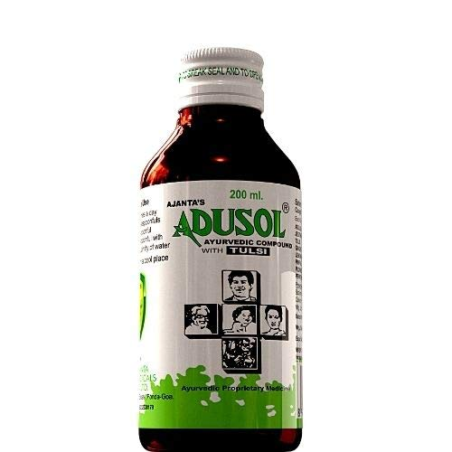 Ajanta's Adusol Ayurvedic Tulsi Cough Syrup Prevent from Cold Wet Dry Cough Good For kids & Adults, Green, Small, 200 ml