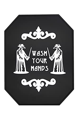 Goth Decor - Halloween Bathroom Decorations for Horror Home - Gothic Decor Wall Art for Spooky Kitchen Room - Wash Your Hands Solid Wooden Plague Sign for Creepy House, 12'' x 9'' x 1''