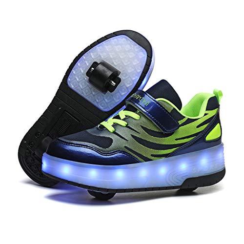 Unisex Niño LED Rueda Doble Zapatos Calzado Deportivo Aire Libre Deporte Skateboarding Gimnasia Zapatillas USB Recargar 7 Colore Brillante Sneaker LED Moda Zapatillas Niños Niña