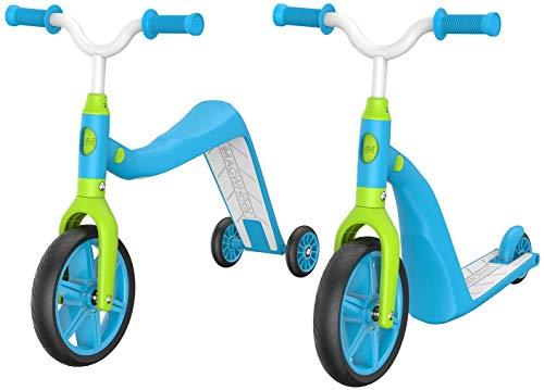 Macwheel Monopattino Bambini 2 in 1 con Sedile Pieghevole/Rimovibile, 3 Ruote Luminose a LED Monopattino con Altezza Regolabile per Bambini e Neonati Ragazze o Ragazzi (MK1) (Blu-2)