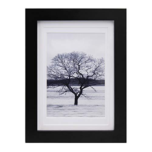 Egofine Bilderrahmen 13x18 cm 5x7 Inch schwarz, freistehend und wandhängend, Bilderrahmen aus Massivholz