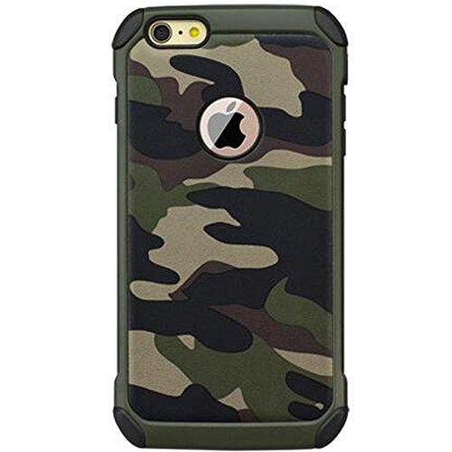 HUKTOR 3-IN-1 Tarnung Hüll kompatibel mit iPhone 8 Plus Mehrfachschutz Schutzhülle + Transparent 9H Gehärtetem Glas + Ringhalter Stoßfest 360-Grad Handyhülle mit 4 Airbags für 8plus,5.5 Zoll,Grün