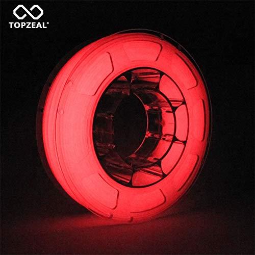 TOPZEAL filament pour imprimante 3D, brillent dans le noir, précision dimensionnelle +/- 0.05mm, bobine 1KG pour imprimante 3D et stylo 3D (rouge lumineux)