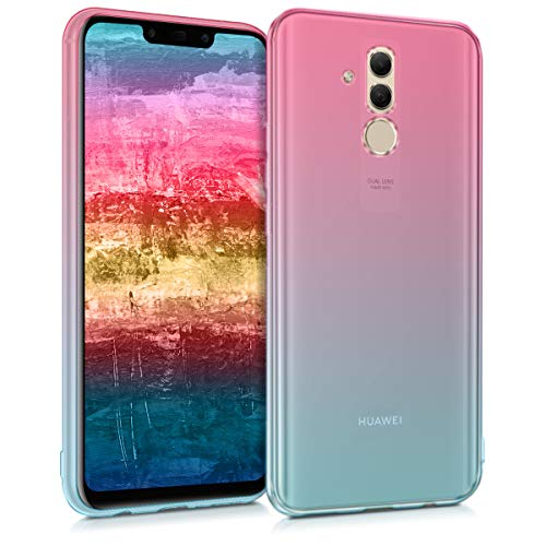 kwmobile Funda Protectora Compatible con Huawei Mate 20 Lite - Carcasa Bicolor Rosa Fucsia/Azul/Transparente