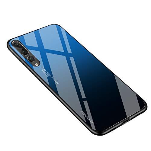 Alsoar - Funda ultradelgada para Huawei P20 Pro - Funda protectora con cristal templado Gradiente 9H - Marco de silicona suave, antigolpes, antiarañazos P20 Pro Blu Nero