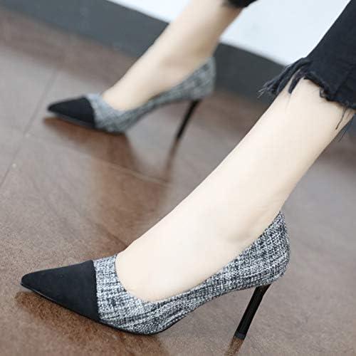 YMFIE Tempérament Sexy Simple et à la Mode Pointu Stiletto Coutures Talons Hauts Chaussures Uniques Chaussures de Travail
