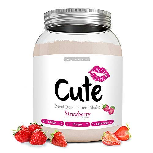 Cute Nutrition Strawberry Meal Replacement Shakes for Weight Loss Control Diet Shake for Women 500g tub with Bonus 4 Week Fat Buster Workout Plan