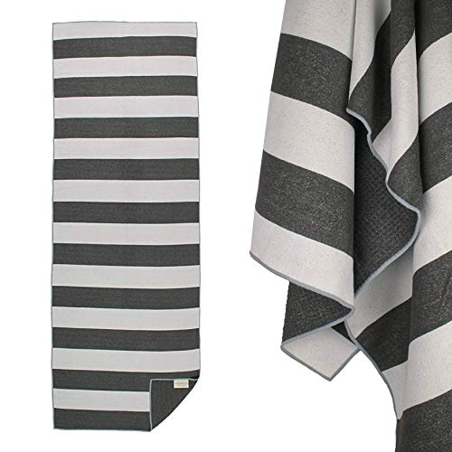 Yogabum Coastal Collection Grip Dot Yoga Towel (Black Stripe)
