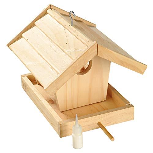 Wiemann Lehrmittel Futterhaus für Vögel - Bausatz für Kinder aus unbehandeltem Holz mit kindgerechtem Holzhammer, Leim und Dübeln