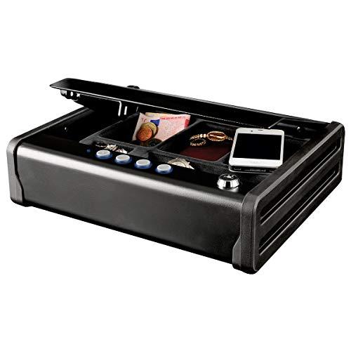MASTER LOCK Caja Fuerte Compacta [Combinación y Llaves] MLD08E - Ideal para objetos de valor, dispositivos electrónicos, pequeños, arma corta