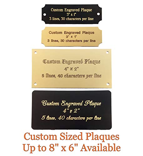 Stanley London Personalized, Custom Engraved Brass Plaque, Name Plate, Art Tag, Picture Frame Label, Trophy Award - Fixed or Custom Sizes (Bright Gold Brass, 3