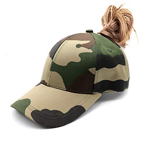 女士迷彩马尾辫棒球帽凌乱的高髻马尾帽素色的不构造的棉老爸帽可调节的帽子女孩帽
