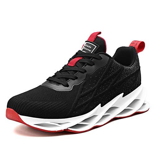 Zapatillas de Deporte Running Hombre Mujer Zapatos para Correr Calzado Deportivo Respirable Sneakers Ligero Gimnasio Deportivos Moda Casuales Fitness Outdoor Antideslizante blackred45