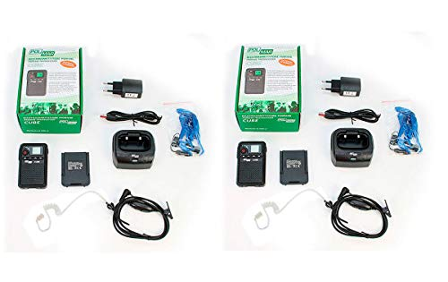 POLMAR Cube-X2 Pack 2 Walkies Talkies PMR-446 Uso Libre 8 + 8 Canales. Compatible con Kenwood TK3501 y Luthor TL-77